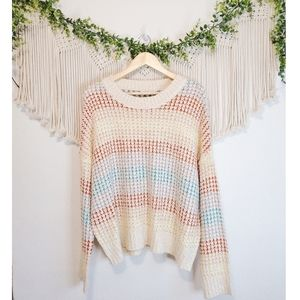 All In Favor Colorful Textured Knit Long Sleeve Soft Pullover Sweater sz L